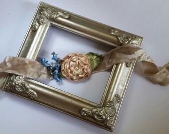 Pink Rose Flower Choker in Ivory Velvet, Handcrafted Floral Necklace
