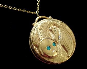 Gold Fish Perfume Pendant, Vintage Koi Fish Perfume Locket Necklace, Revlon Intimate Solid Perfume, Pisces Jewelry, Fish Locket Pendant