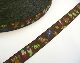 "1 m Woven Ribbon Farbenmix  ""Waldzwergenpost""  16 mm Design Paulapü deer squirrel fox owl"