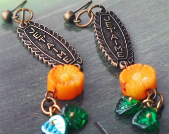 I Love You in French Charms, Orange Flower Earrings, Je T'aime Earrings, Spring Orange and Green Daisy Earrings, French Charm jewelry, SRAJD
