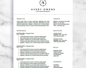 One page resume etsy curriculum vitae template cv template one page resume for word and pages free cover letter digital download creative resume altavistaventures Images