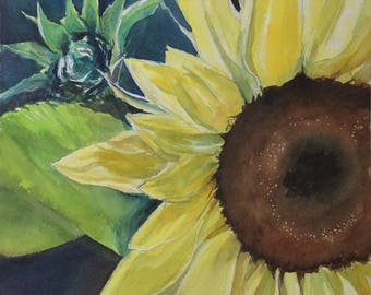 Sunflower ORIGINAL watercolor PAINTING art
