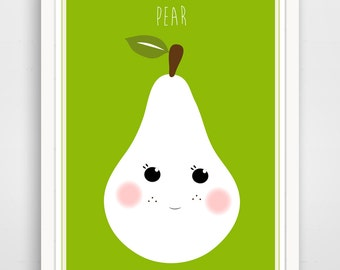 Children's Wall Art / Nursery Decor Green Pear  print by Finny and Zook