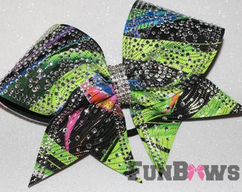 Beautiful  Multi colored  Allstar  rhinestone cheer bow by FunBows ! - WOW !