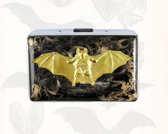 Vampire Bat Metal Cigarette Case Inlaid in Hand Painted Enamel Black with Gold Swirl Design Metal Wallet Engraved and Personalized Options