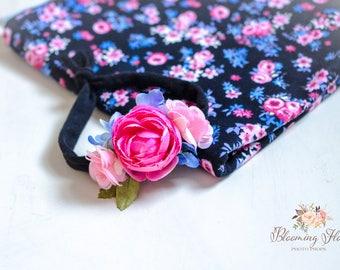 RTS Floral wrap and tieback set, Pink black Newborn Floral Photo prop set, Newborn Photo Prop, Floral wrap, Newborn tieback.