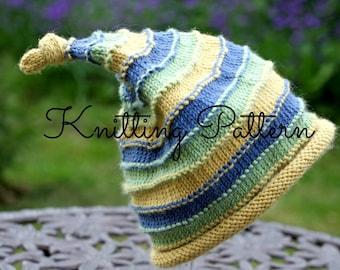 Knitting Pattern/DIY Instructions - Ridge Stripe Baby Pixie Hat