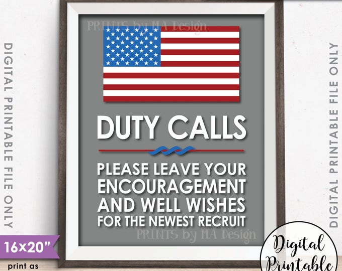 """Military Party Decor, Leave your Encouragement and Well Wishes, Boot Camp, Gray Background, American, 8x10/16x20"""" Printable Instant Download"""