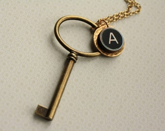 Monogram Keys Pendant Necklace with One Letter, Long Gold Chain, Black and White, Letter Charm, Wood, Skeleton Key