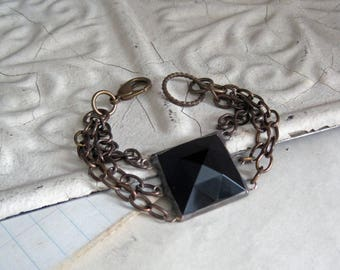 Black Glass Bracelet, Stained Glass Jewelry