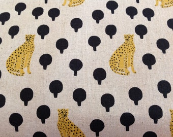 Cheetahs on Natural linen/cotton blend by Sarah Golden for Andover Fabrics pattern 8762 color K