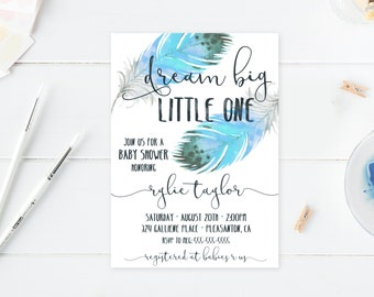 Baby Shower Invitation, Boho Baby Shower Invitations, Boy Baby Shower Invite, Boho Boy Baby Shower Invitation, Dream Big Little One [503]