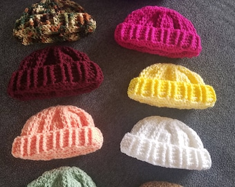 Crocheted Childrens Winter Hats Available In 10 Colors