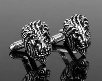 Silver Lion Cufflinks/ Animals Cuff Links/ Silver Cufflinks/ Cufflinks for men/ Lion Gift/ Lion/ King cufflinks/Animal Gifts/ Wedding gift