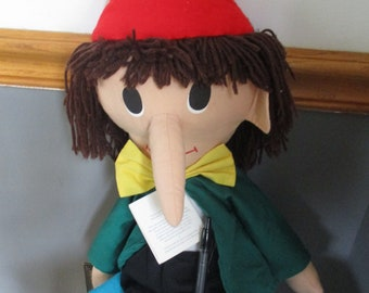 """1991 PINOCCHIO 31"""" Tall Plush Rag Doll Made For Museum of Fine Arts Boston with all Original Tags"""