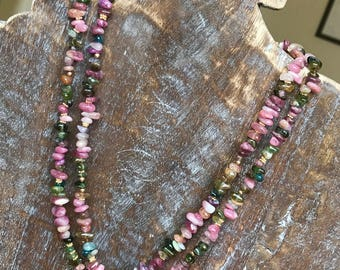 Tourmaline Nugget Necklace - Rainbow Tourmaline Necklace - Multi-color Tourmaline Necklace - Watermelon Tourmaline