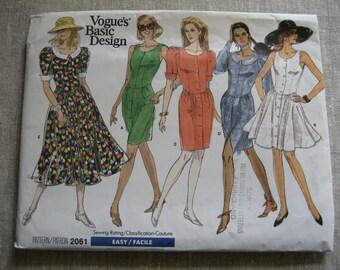Vogue's Basic Design Couture Dress Pattern 2061