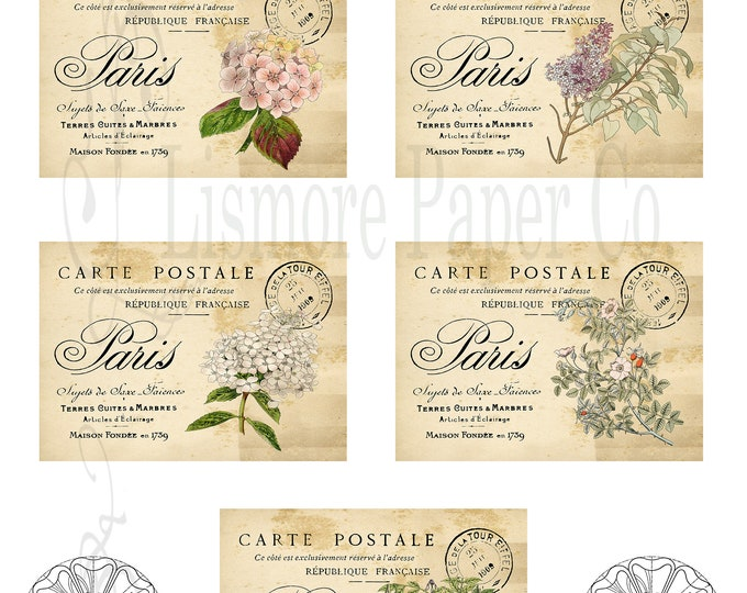 Paris Botanical Post Cards, Digital Collage Sheet, Botanical Art, Journal Post Card, Digital Paper, Scrapbooking, Instant Download Printable