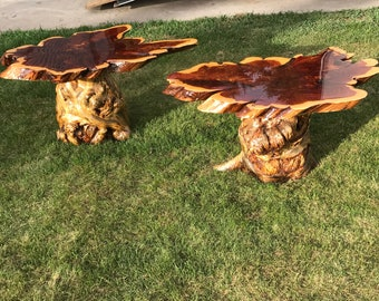 Southern Red Cedar matching End Tables on twisted pine burled bases