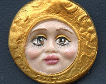 "Sale ! Polymer Clay Detailed  Brown Eyed Golden  Face Cab 1 1/2""  X 1 1/2"" BRM 1"