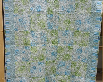 Beautiful lap to twin quilt pieced withfree Spirit fabrics by Tanya Whalen shabby chic