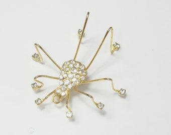 Rhinestone Gold Whimsical Spider 1970's Vintage Brooch Pin Costume Jewelry Gift For Her on Etsy