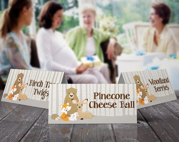 Woodland Food Labels - Baby Shower, Buffet Tags,Table Tents,Woodland Animals,Forest Friends | EDITABLE Text - INSTANT Download Printable PDF