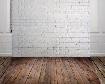 Vintage white brick wall vinyl photography background newborn backdrop XT-526