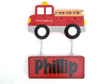 Fire truck, Kids name sign, Door sign, Kids room sign, Custom name sign, Boys name sign, Nursery decor