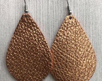 Copper Metallic - Leather Teardrop Earring