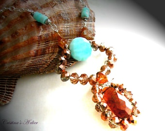 Garnet Peruvian opal gemstone pendant- Statement blue orange gemstone necklace- Hessonite garnet pendant-Fashion silver pendant- Women gift