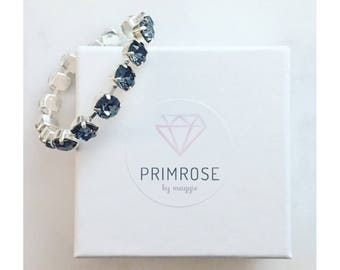 Silver Night + Silver, Handmade Swarovski Crystal Bracelet, Silver Bracelet, Dark Silver Bracelet