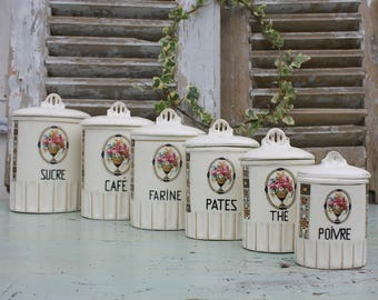 Kitchen Canisters / Kitchen Storage Jars / Antique / French / Ceramic / Transferware / Canister Set / French Kitchen / Kitchen Storage