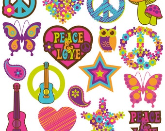 Retro Clipart Clip Art, 60s and 70s Clipart Clip Art - Commercial and Personal
