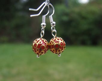 Red Gold Round Earrings, Red Gloss Ball Earrings, Sphere Earrings, Bead Earrings, Acrylic Earrings, Gold Circle Earrings, Patterned Bead, :)