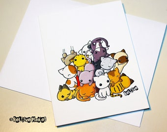 Pile of Kitties Card - Cat Kitty - birthday anniversary congratulations anything - ReLove Plan.et Art Print