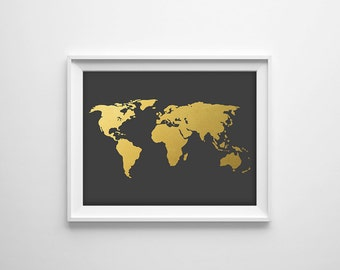 Gray World Map Print, Gold World Map Art, Grey Map Art, Gold and Gray Map, Modern Map Art, Gold Office Print, Gold Map Poster