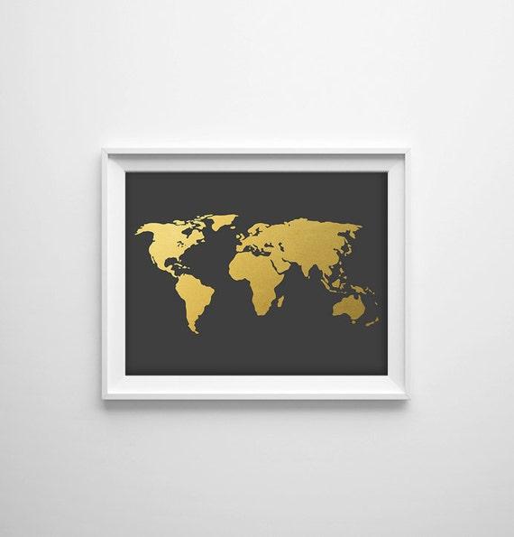 Gray world map print gold world map art grey map art gold gumiabroncs Gallery