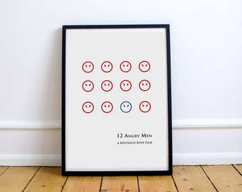 FREE SHIPPING** 12 Angry Men - Movie Poster, Minimalist Poster, Movie, Twelve Angry, Minimal Movie Poster, Minimal Poster Print, Minimalist