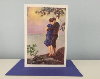 Vintage Couple Card, Anniversary Greeting Card, Lovers Card, Valentine Card, Wedding Card
