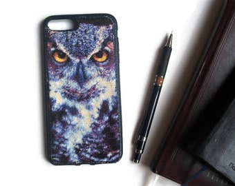 Embroidered iphone case 7 plus Embroidered  blue owl phone case Cross stitch phone cover Handmade phone accessories Cross stitch owl phone