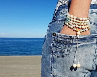 Amazonite Mala, Fossil Mala, 108 Mala, 108 Mala Bracelet, Beige Mala Beads, 108 Mala Beads, 108 Prayer Beads, Boho Necklace, Knotted Mala
