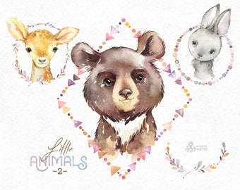 Little Animals 2. Watercolor clipart, bear, bunny, deer, wreath, frame, forest, cute, nice, country, nursery art, nature, realistic, sweet