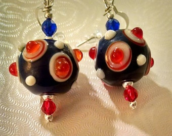Red and Blue Lampwork Earrings Item No. 100