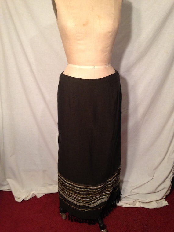 White Stag Womens Long Brown Earth Tone Stripe Skirt Size 16 Sale b10