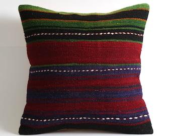 16x16 stripe turkish kilim pillowcase boho pillow cover ethnic home decor
