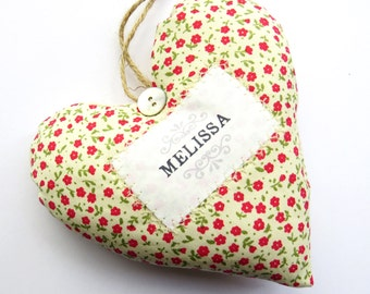 Personalised Name Heart - Great for Wedding Favours.  Fabric Heart Produced in Your Choice of Fabric. Supplied Gift Boxed