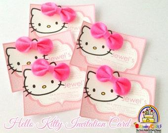 Invitation cards etsy 20 pieces hello kitty invitation card stopboris Choice Image