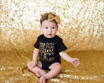 Newborn girl coming home outfit, Baby shower gift, our greatest adventure girl bodysuit,  Newborn photo prop, newborn girl coming home.