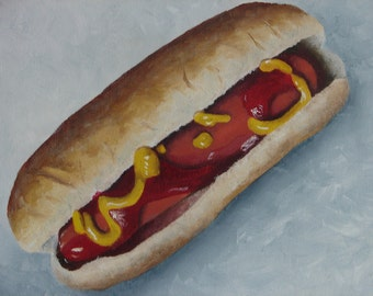 """Hot Dog on Bun ketsup and mustard oil on canvas 8""""x10"""""""